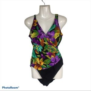 VTG Sirena Swimsuit 80's Hawaiian Floral One Piece